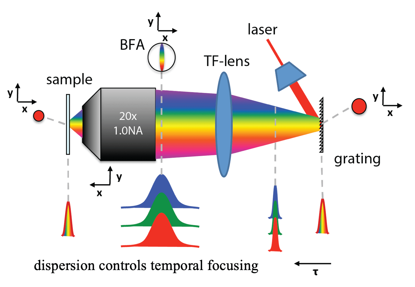 Principle and realization of temporal focusing (TeFo)
